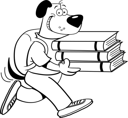 Black and white illustration of a dog carrying books Illustration
