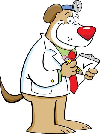 Cartoon illustration of a dog doctor Illustration