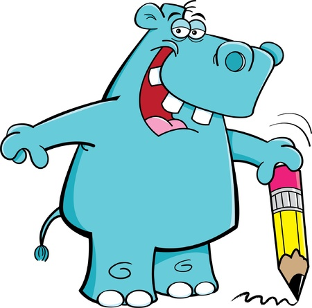 cartoon hippo: Cartoon Illustration of a Student Hippo