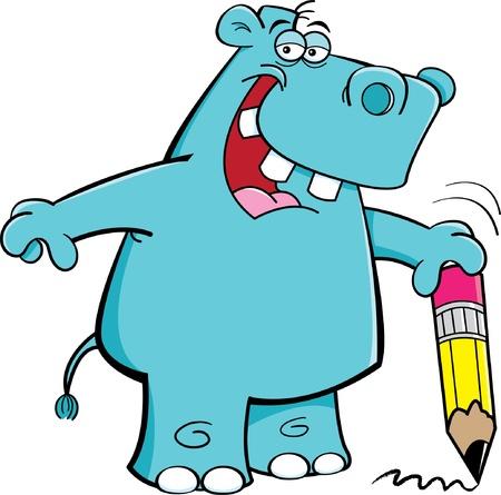 Illustration de dessin animé d'un hippopotame étudiants Banque d'images - 15168834