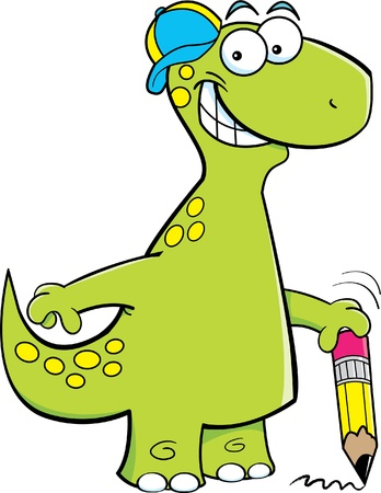 Cartoon illustration of a brontosaurus holding a pencil Illustration