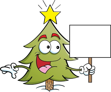 Cartoon illustration of a Pine tree holding a sign