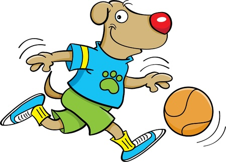 dog health: Cartoon illustration of a dog playing basketball Illustration