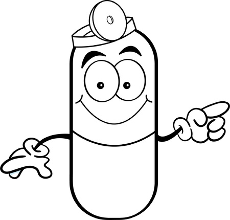 Black and white illustration of a pill capsule pointing Ilustração