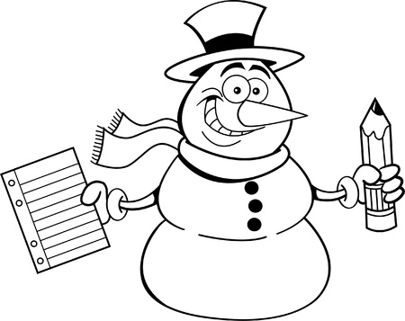 paper hats: Black and white illustration of a snowman holding a paper and a pencil