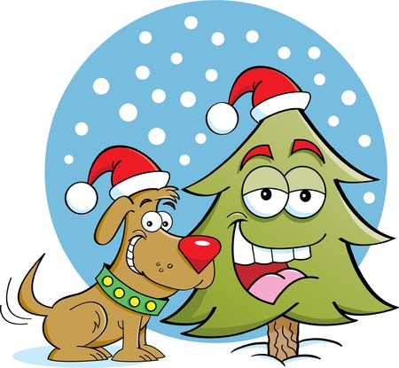 Cartoon illustration of a dog with a pine tree