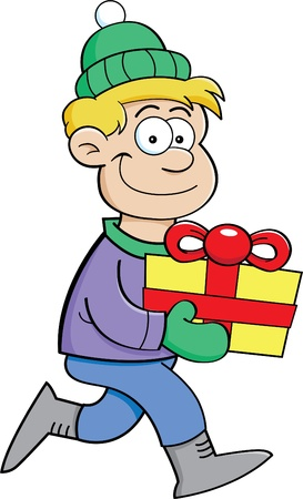 giving gift: Cartoon illustration of a boy carrying a gift