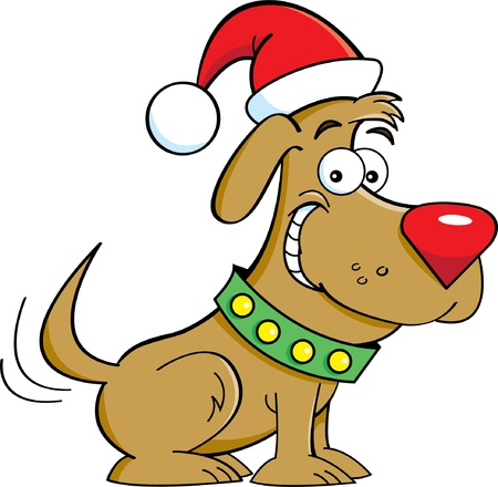 Cartoon illustration of a dog wearing a Santa hat