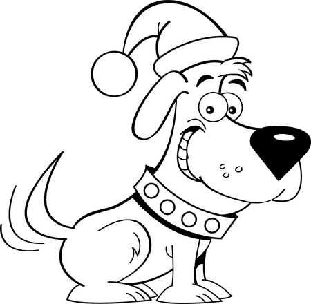cartoon dog: Black and white illustration of a dog wearing a Santa hat