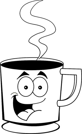 steaming: Black and white illustration of a cup of coffee Illustration