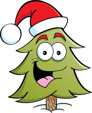Cartoon illustration of a pine tree wearing a Santa hat