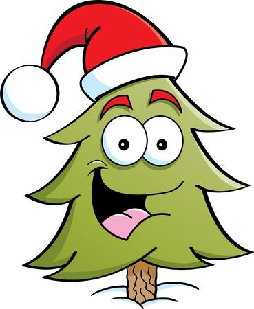 winter tree: Cartoon illustration of a pine tree wearing a Santa hat