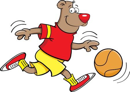 Cartoon illustration of a bear playing basketball Vector