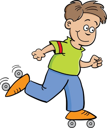 Cartoon illustration of a boy roller skating