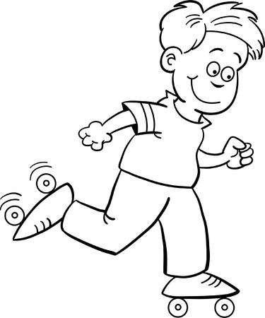 roller skating: Black and white illustration of a boy roller skating