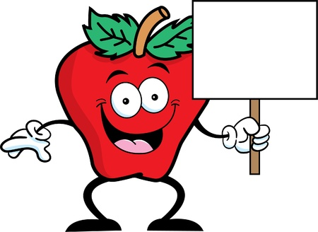 Cartoon illustration of a apple holding a sign