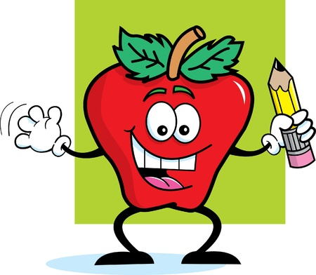 Cartoon illustration of an apple holding a pencil on a background Vector