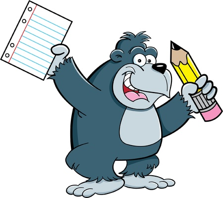 Cartoon illustration of a gorilla holding a pencil and paper Vector
