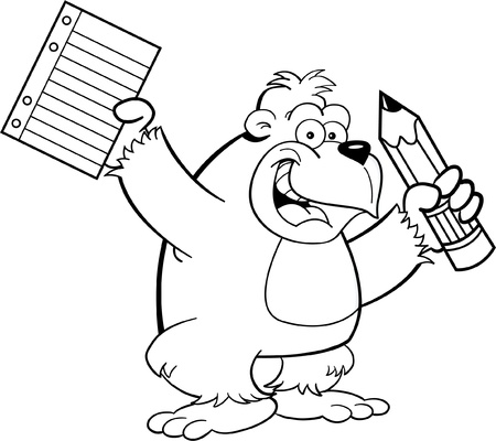 monkey clip: Black and white illustration of a gorilla holding a pencil and paper