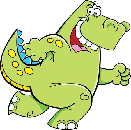 running: Cartoon illustration of a running dinosaur