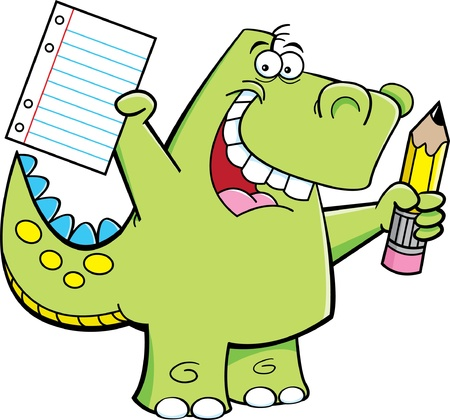 Cartoon illustration of a dinosaur holding a pencil and paper Illusztráció