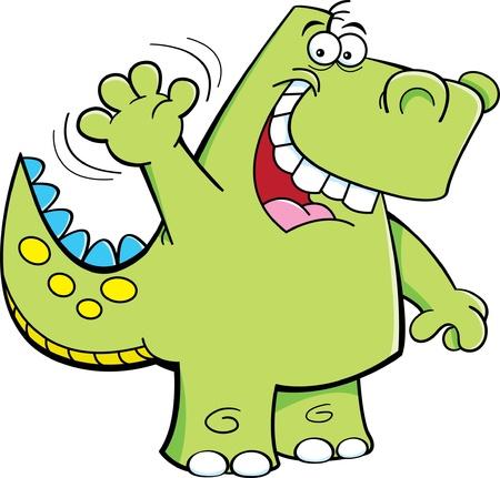 Cartoon illustration of a waving dinosaur
