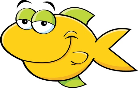 underwater fishes: Cartoon illustration of a smiling fish