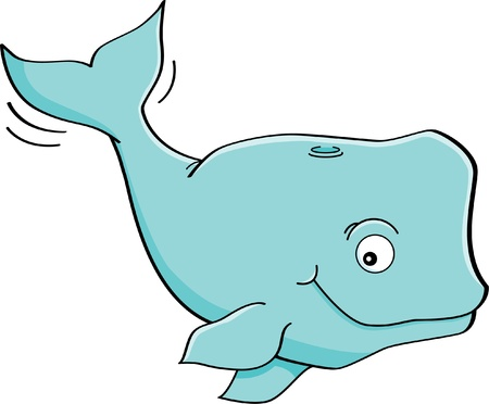 Cartoon illustration of a happy blue whale Vector