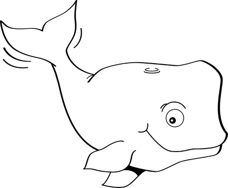 Black and white illustration of a happy whale Ilustracja