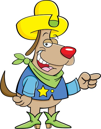 Cartoon illustration of a dog dressed as a cowboy