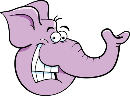 Cartoon illustration of an elephant head
