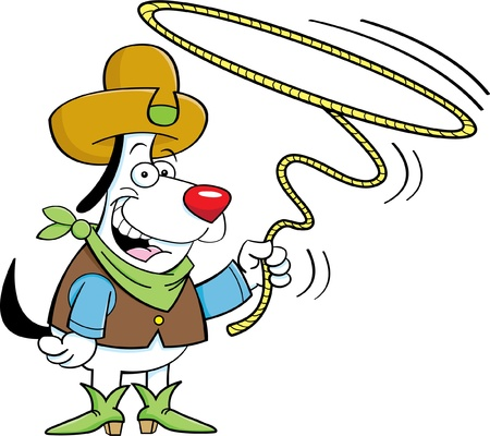Cartoon illustration of a cowboy dog twirling a lariat Vector