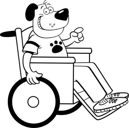Black and white illustration of a dog in a wheelchair Stock Vector - 15572871