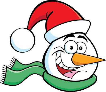 Cartoon illustration of a snowman head