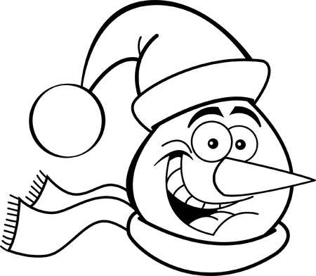 Black and white illustration of a snowman head Vector