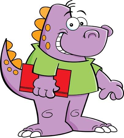 Cartoon illustration of a dinosaur kid holding a book Ilustracja