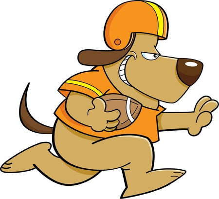 Cartoon illustration of a dog playing football  イラスト・ベクター素材