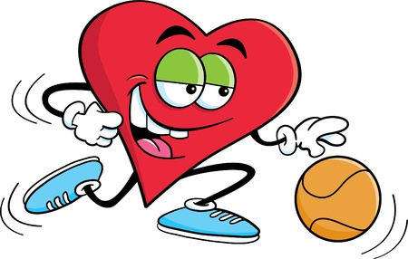 exercise ball: Cartoon illustration of a heart playing basketball