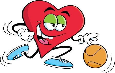 Cartoon illustration of a heart playing basketball