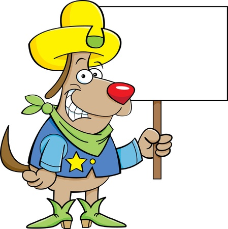 Cartoon illustration of a cowboy dog holding a sign