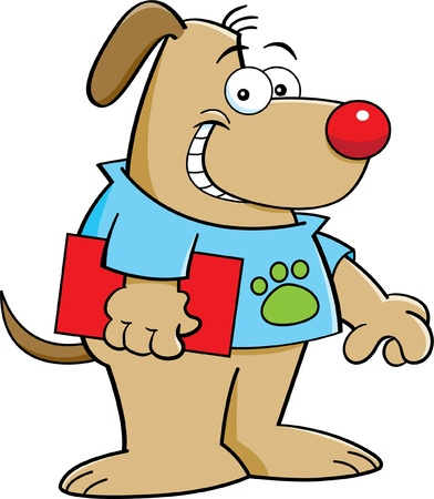 Cartoon illustration of a dog holding a book