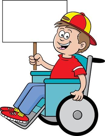 Cartoon illustratie van een jongen in een rolstoel met een bordje Stock Illustratie