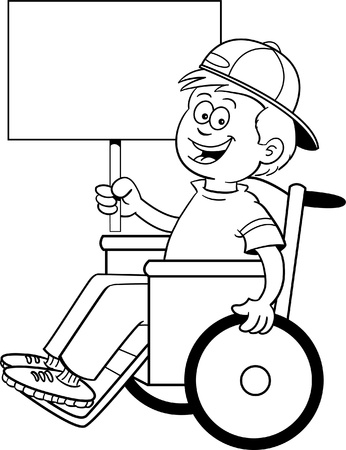 Black and white illustration of a boy in a wheelchair holding a sign