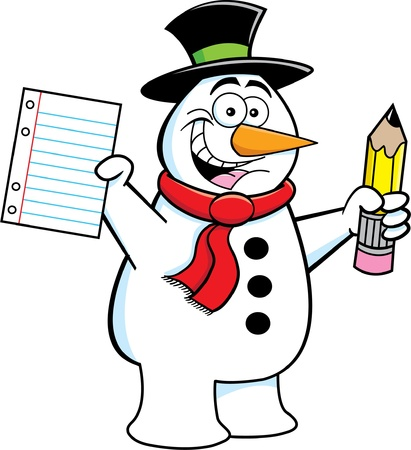 Cartoon illustration of a snowman holding a paper and a pencil