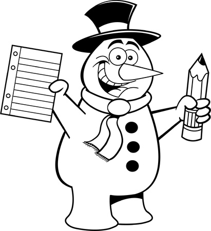Black and white illustration of a snowman holding a paper and a pencil Stock Vector - 15746806