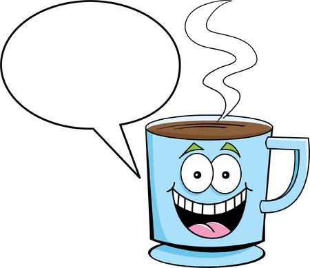 Cartoon illustratie van een kopje koffie met een bijschrift ballon