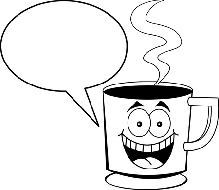 Black and white illustration of a cup of coffee with a caption balloon