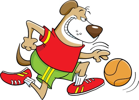 Cartoon illustration of a dog playing basketball