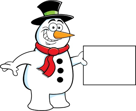 Cartoon Illustration of a Snowman Holding a Sign