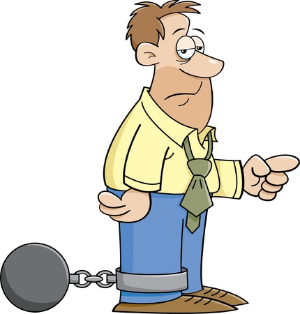 worked: Cartoon illustration of a man wearing a ball and chain